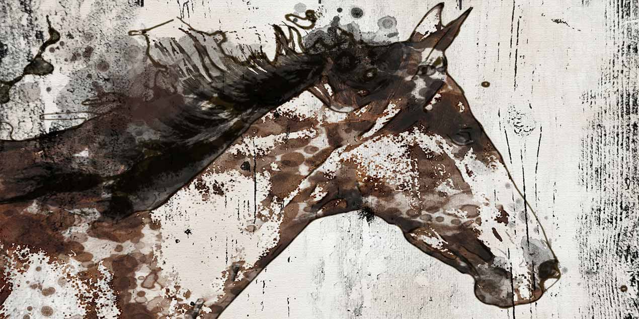 A picture of a horse in a distressed painted style on wood Art & Photography Licensing 101 Trends and How it Affects your work